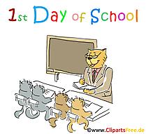 Hari ke-1 di Sekolah Clipart, Gambar, Grafis, Kartun