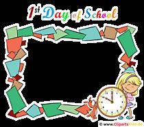 1th Day of School frame clipart transparan untuk pendaftaran sekolah