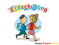 Cartoon Kinder gehen in die Schule