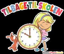 Skolflicka och klocka Clipart - Lektioner börjar i Danmark