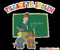 Tillbaka till skolan gratulationskort på danska - clipart, skolbilder