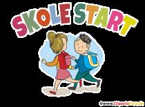 Skole Start - Tillbaka till skolan i danska Clipart, Card