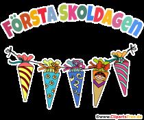 1. Schultag auf Schwedisch Clipart, Bild, Plakat