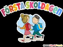 1. Tag in der Schule auf Schwedisch Clipart, Illustration kreativ