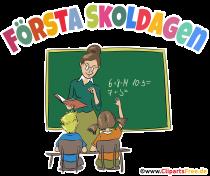 Der erste Schultag in der Schule Schweden Clipart, Grafik, Cartoon