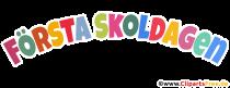 Erster Schultag Schwedisch Überschrift in bunten Buchstaben