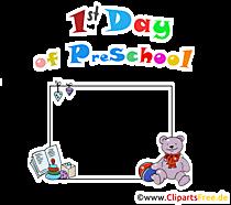 Hari pertama sekolah dasar dalam bahasa Inggris - bingkai foto transparan