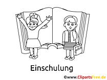 Malbild Schule und Kinder