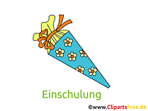 Schultüte zur Einschulung Bild, Cliparts, Glückwunschkarte