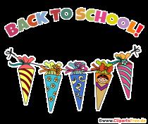 Skolkeglar för första klassens elever - gratulationskort för skolstarten på engelska