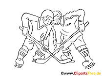 Eishockey Bild, Clipart, Grafik, Comic schwarz-weiss zum Ausdrucken