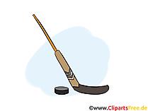 Eishockeyschläger und Puk Bild, Illustration, Clipart gratis