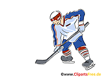 Eishockeyspieler Clipart, Bild, Comic, Cartoon, Illustration kostenlos