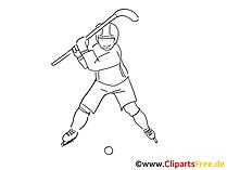Eishockeyspieler Clipart, Grafik, Comic schwarz-weiss zum Ausdrucken