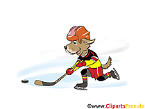 Hund spielt Eishockey Clipart, Bild, Grafik, Cartoon, Comic, Illustration kostenlos