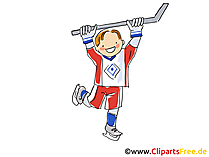 Spieler mit Eishockeyschlaeger Bild, Illustration, Clipart, Comic, Cartoon gratis