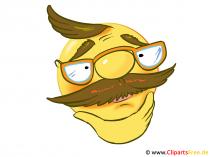 Emoticon gratis Opa mit Brille