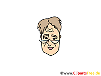 Mensch mit Lesebrille Clipart, Bild, Cartoon, Comic, Illustration gratis