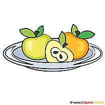 Obst auf dem Tablett - Speisekarte Clipart