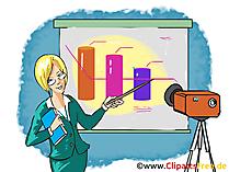 Business-Frau praesentiert Clipart, Bild, Grafik, Cartoon gratis