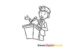 Businessman talking into a microphone Clip Art, Image, Graphic