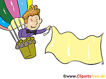 Luftballon mit Flagge Clipart, Bild, Grafik, Cartoon