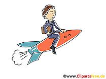 Manager auf einer Rakete Clipart, Grafik
