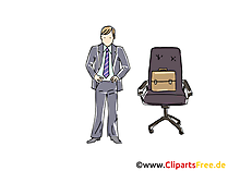 Manager und Chefsessel Clipart, Grafik, Bild, Cartoon