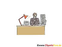 Mann arbeitet am Schreibtisch Clipart, Grafik