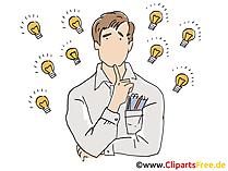 Mann mit Glühbirnen, Ideensuche Clipart, Grafik, Bild
