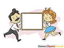 Mann und Frau mit Werbeplakat Bild, Grafik, Clipart