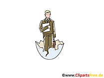 Mensch in Eierschale Clipart, Bild, Cartoon