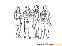 Office Mitarbeiter Clipart schwarz-weiss