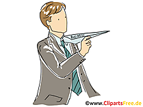 Papierflugzeug Clipart, Grafik, Bild, Cartoon