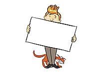 Schild zum Beschriften Clipart, Grafik, Cartoon