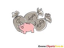 貯金とお金クリップアート、アートワークと袋