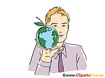 地球儀を手にクリップアート、グラフィック、画像