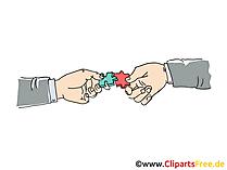 両手一緒にパズルに参加するクリップアート画像