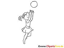 Ball spielen am Strand Zeichnung, Clipart, Bild schwarz-weiss, Grafik, Comic gratis