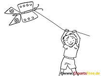 Drachen am Strand Zeichnung, Clipart, Bild schwarz-weiss, Grafik, Comic, Cartoon