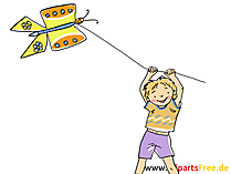 Drachen steigen lassen Clipart, Bild, Cartoon, Comic, Grafik