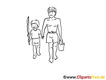 Fischer Zeichnung, Clipart, Bild schwarz-weiss, Grafik, Comic, Cartoon gratis