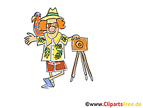 Fotograf im Urlaub Cartoon, Clipart, Bild, Illustration