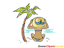 Frau am Strand Clipart, Bild, Cartoon, Comic, Grafik