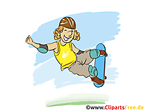 Freestle und Skateboard Action Grafik, Illustration, Bild, Cartoon, Image