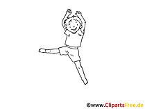 Junge Zeichnung, Clipart, Bild schwarz-weiss, Grafik, Comic, Cartoon gratis