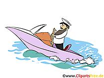 Kapitän fährt Motorboot Clipart, Bild, Illustration