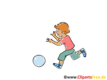 Kind spielt mit Ball Clipart, Bild, Cartoon, Comic, Grafik