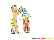 Kinder spielen am Strand Clipart, Bild, Cartoon, Comic, Grafik gratis