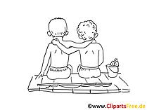 Knaben Zeichnung, Clipart, Bild schwarz-weiss, Comic, Cartoon gratis